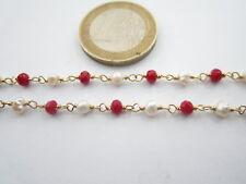 10 cm di catena rosario in argento 925 placcato oro cristalli e perle concatenat