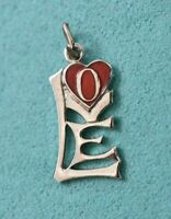 Red Enamel Heart LOVE Vintage Mid Century Modern GRIFFITH Sterling Silver Charm