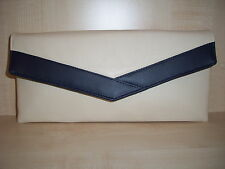 CREAM AND NAVY BLUE faux leather envelope clutch bag, fully lined BN.