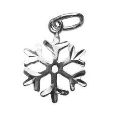 10 Sterling Silver Diamond Cut Snowflake Charms, 10 x 14 mm (S130-Q10)