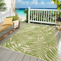Tropical Outdoor Indoor Area Rug Patio Porch 5 x 7 Green Beige Nonskid Durable