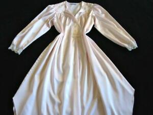 "Christian Dior Nightdress 38-44"" bust Long Pink Cuddleskin Satin Gown Vintage"