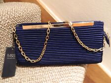 LADIES BLUE SATIN CLUTCH HANDBAG NEW WITH TAGS M&S WOMAN CHAIN STRAP