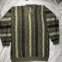 Vintage 90's Protege Coogi Style Brown Sweater Large L Crew Neck Biggie Cosby