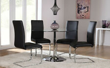 Orbit & Perth Round Glass & Chrome Dining Table And 4 Chairs Set (Black)