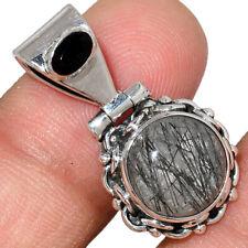 Black Tourmaline In Quartz & Black Onyx 925 Silver Pendant Jewelry AP207925 160Z