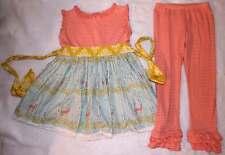 Persnickety Bo Peep Kassidy Deer Tunic Tank Top Dress Pink Ruffle Leggings 8 10