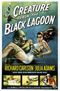 classic CREATURE FROM THE BLACK LAGOON movie poster richard CARLSON 24X36 - VW0