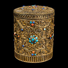 Nepal 20. JH. lata-a nepalese se aplica Silver 'jarao' box-boîte népalaise