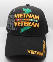 Vietnam Veteran Ball Cap Hat w/ Service Ribbon Design In Black New H17