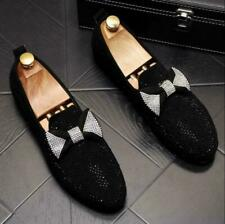 Bowtie Rhinestone Loafers Slip On Mens Formal Party Dress Shoes Moccasin US9.5