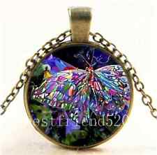 Vintage Rhinestone Butterfly Cabochon Glass Bronze Chain Pendant  Necklace