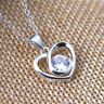 925 Sterling Silver Plated Cute Heart Crystal Design Pendant Plus Chain Wholesal