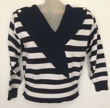 VTG 80s Laura by Alyzia Knit Striped Blue White Cardigan Sweater Size 4 USA