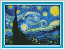 The Starry Night of Van Gogh Disney characters stamped Cross Stitch Kit 14CT