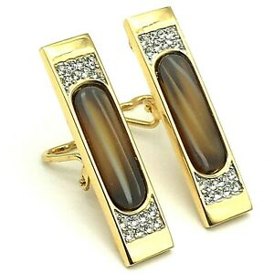 Bijoux Givenchy Paris-New York 1979 Amber Glass & Pave Rhinestone Clip Earrings
