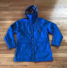 Vintage Woolrich Mens Wool Lined Blue Parka Rain Jacket Large New