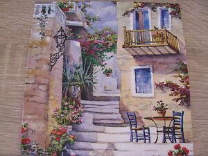 4  Servietten Haus mit Treppe, Basking in Summer`s Sun