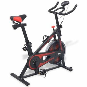 vidaXL Exercise Spinning Bike Fitness Machine with Pulse Sensors Black and Red