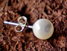 SINGLE STERLING SILVER 6mm MOTHER of PEARL BALL SHAPED STUD EARRING £3.95nwt