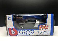Burago Audi R8 Flat Black 1/43 Diecast New Free Ship Street Fire Italian VHTF