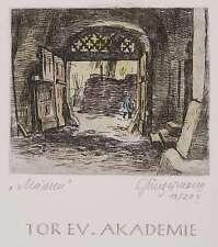 ULRICH JAFFER - Cancello Evangelico Accademia Meißen - kolor. Acquaforte 1982