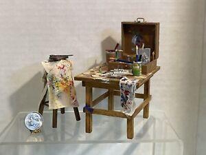 Vintage Artisan E REULBACH Filled Artist Table & Stool Dollhouse Miniature 1:12