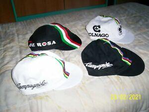 LOTTO 4 Cappellini Ciclismo vintage anni 80 CAMPAGNOLO COLNAGO DE ROSA iridati!!