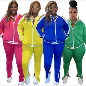 Womens 2PC Casual  PLUS SIZE Solid Color Striped Jacket Pants Tracksuit L-5XL