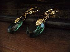 Vintage Deco Turmaline Green Oval Crystal Drop Hook Earrings.