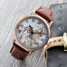 Womens Brown Vintage Leather World Map Wrist Watch Explorer Travel Watch Gift