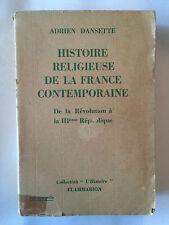 HISTOIRE RELIGIEUSE FRANCE CONTEMPORAINE VOL 1 1948 DANSETTE REVOLUTION