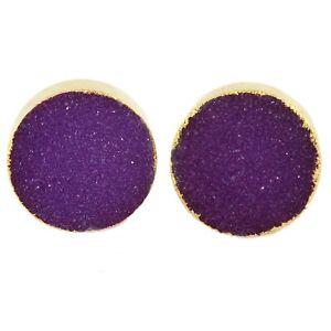 Multi-Color Round Real Sugar Druzy Quartz Gold Quartz Plated Handmade Cufflinks