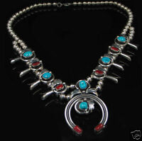 .925 Sterling Silver Natural Turquoise Red Coral Squash Blossom Necklace