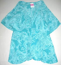 FRESH PRODUCE Turquoise Blue XL XXL Mystic Voile Simple Tunic Top $65 NWT XL/XXL