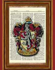 Harry Potter Dictionary Art Print Picture Poster Gryffindor House Lion Crest