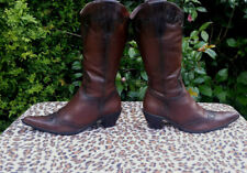 Dolcis Brown Leather Cowboy Boots UK 6.5 EUR 40