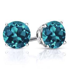 3.40 Ct Round 7mm London Blue Topaz 925 Sterling Silver Stud Earrings