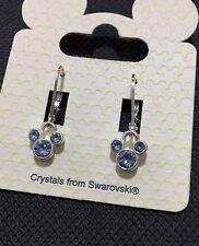 Disney Mickey Mouse Girls Women's Blue Swarovski Crystal Earrings BNWT Lovely