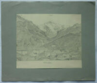 BLEISTIFT ZEICHNUNG Interlaken Jungfrau vor 1910 ca. 24,5 x 20,5 cm Karl Ehlers