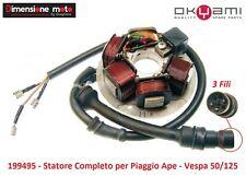 """119 - Statore """"Okyami"""" Completo 6 Poli 3 Fili per Piaggio Vespa 50 N dal 1989"""
