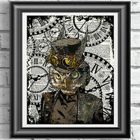 Steampunk Owl Vintage Dictionary Page Print Wall Art Picture Top Hat Animal