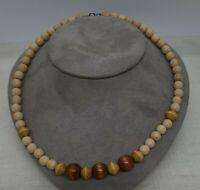 "Wood Beads Necklace 16"" Vintage Graduated Beads BOHO Hippie"