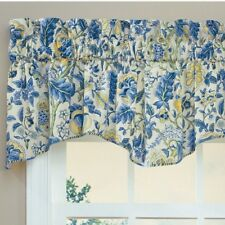 Waverly Double Ascot 2 Valances Jacobean Floral Blue Yellow One Pair Lined