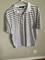 Ralph Lauren Mens Shirt Size Large Golf Polo RLX Short Sleeve White Striped  03