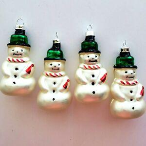Vintage Snowman Glass Ornaments 90s Set of 4 Bradford Novelty w/Box Snowmen CMAS