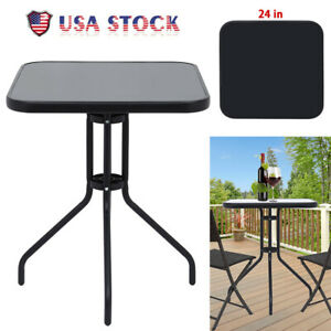 """24"""" Patio Table Bistro Table Garden Balcony Pool Side Table w/Tempered Glass"""
