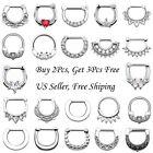 16g 14g Stainless Steel Septum Clicker Nose Ring Ear Hoop Earring Body Piercing