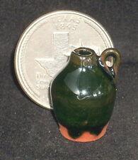 Dollhouse Mini Green Brown Glazed Cider Jug 1:12 Mexican Apple Farm Country C231