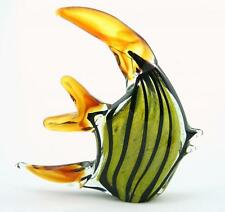 "New 9"" Hand Blown Art Glass Angel Fish Figurine Sculpture Black Amber Green"